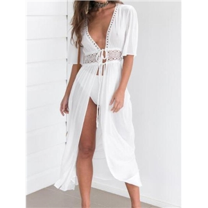White Tie Waist Cut Out Detail Maxi Dress