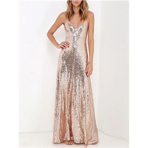 Gold V-neck Spaghetti Strap Sequin Detail Open Back Maxi Dress