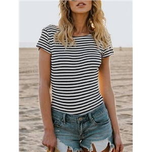Black Stripe Open Back T-shirt