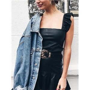 Black Frill Trim Leather Look Crop Tank