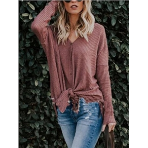 V-neck Tie Front Long Sleeve Blouse
