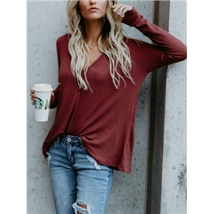 V-neck Button Detail Long Sleeve T-shirt