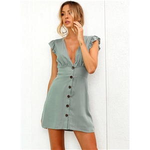 V Neck Buttons Flounce Sleeve Dress