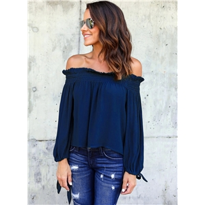Off Shoulder Long Sleeve Chiffon Blouse