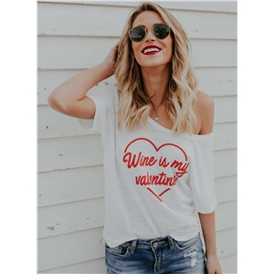 Off Shoulder Short Sleeve Letter Printed Tee