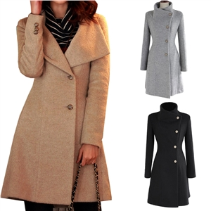 Single Button Stand Collar Sash Overcoat