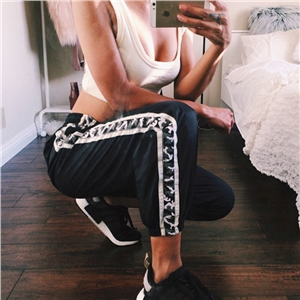 Fashion side camouflage band patchwork trousers Women Black ankle length pants