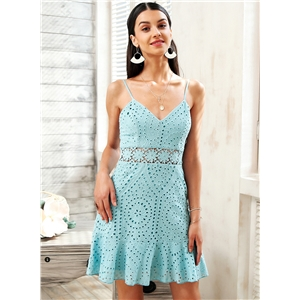 Spaghetti Strap Cut out Backless Lace Dress