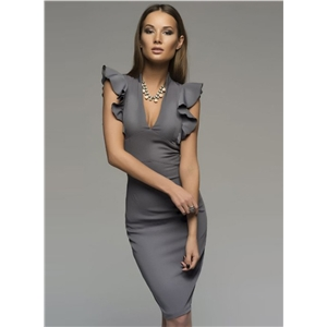 Deep V Neck Flounce Sleeve Bodycon Dress