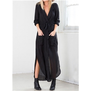 Loose Long Sleeve Slit Shirt Dress