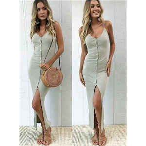 Spaghetti Strap Front Slit Buttons Dress