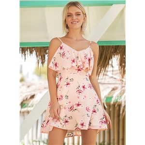 Floral Printed Flounce Vacation Mini Dress
