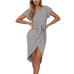 Round Neck Slit Irregular Dress with Belt