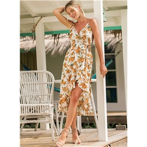 Spaghetti Strap Floral Printed Irregular Dress