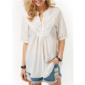 V Neck Pearls Back Cutout Blouse