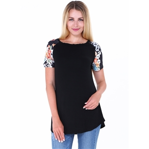 Round Neck Floral Printed Tee Shirt