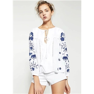 Long Sleeve Floral Embroidery Blouse