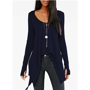 Scoop Neck Solid Color Long Sleeve Irregular Tees