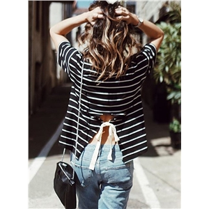 Round Neck Striped Printed Back Slit Tee Shirt