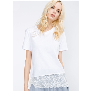 Round Neck Pullover Lace Stitching Tee Shirt