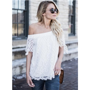 Slash Neck Short Sleeve Lace Blouse