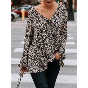 Black V-neck Tie Cuff Floral Print Long Sleeve Blouse