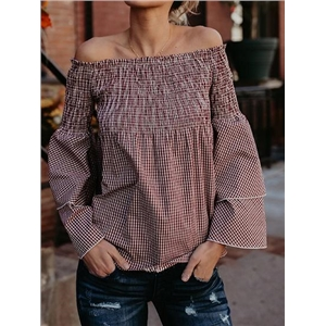 Pink Plaid Stretch Off Shoulder Flare Sleeve Blouse