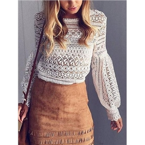 Crew Neck Puff Sleeve Lace Blouse