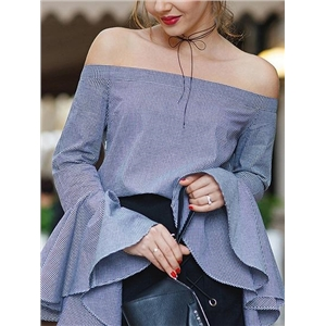 Blue Stripe Off Shoulder Flare Sleeve Blouse