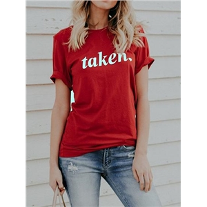 Red Letter Print T-shirt