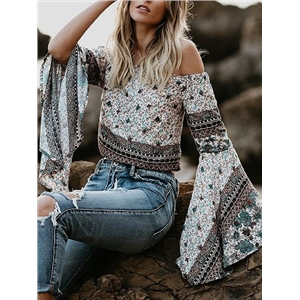 White Off Shoulder Floral Print Flare Sleeve Blouse