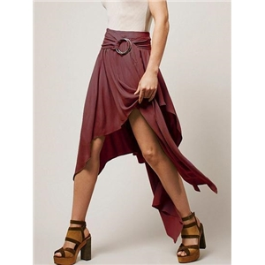 High Waist Ring Belt Asymmetric Hem Skirt