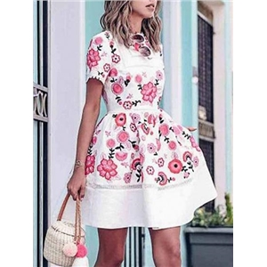 White Floral Print Open Back Ruffle Hem Mini Dress