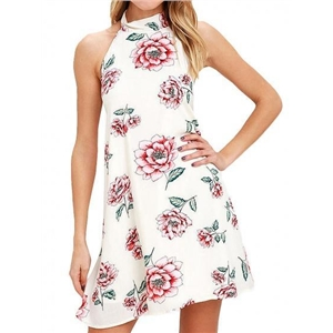 Halter Floral Backless Mini Dress