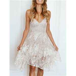 Light Gray Spaghetti Strap V-neck Sequin Detail Dress