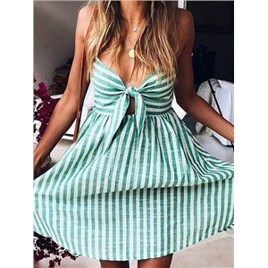 Stripe Spaghetti Strap Knot Front Mini Dress