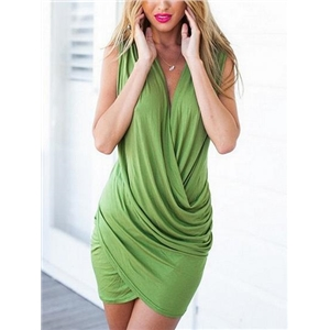 Drape V-neck Ruched Bodycon Mini Dress