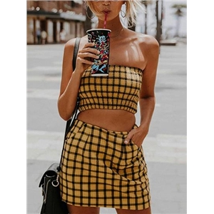 Yellow Plaid Bandeau Crop Top And High Waist Skirt