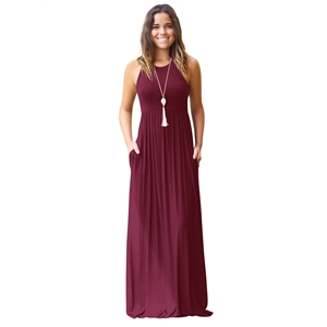 Round Neck Sleeveless Pockets Tank Maxi Dress