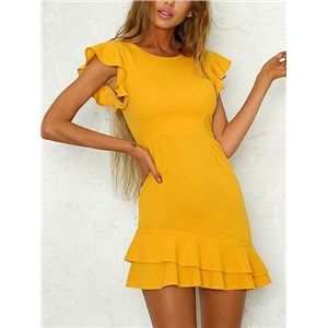 Yellow Open Back Ruffle Sleeve Mini Dress