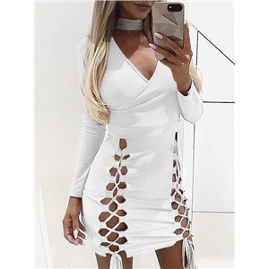 White Halter Plunge Lace Up Front Long Sleeve Bodycon Mini Dress