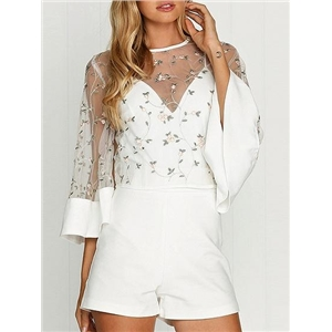 White Embroidery Detail Sheer Mesh Blouse