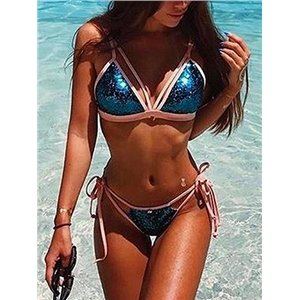 Blue Contrast Sequin Detail Bikini Top And Bottom