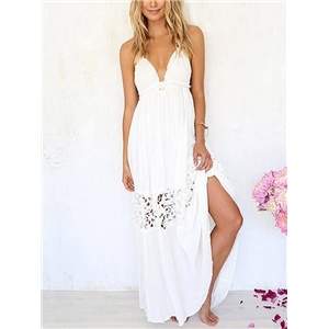 White Halter Plunge Lace Panel Open Back Maxi Dress