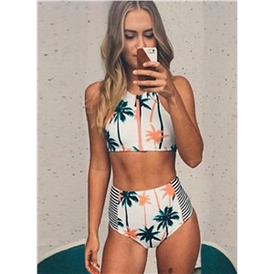 2 Piece Palm Tree Printed Stripe High Waist Swimwear