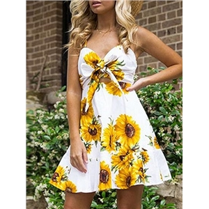 White V-neck Sunflower Print Tie Front Open Back Cami Mini Dress