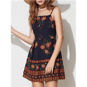 Dark Blue Spaghetti Strap Floral Print Open Back Mini Dress