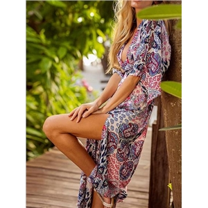 Polychrome V-neck Folk Print Thigh Split Side Maxi Dress