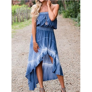 Light Blue Bandeau Ruffle Hem Hi-Lo Dress