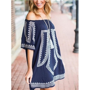 Dark Blue Off Shoulder Folk Print Mini Dress